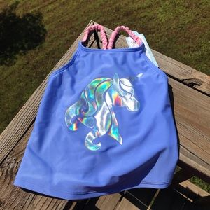 NWTCat&Jack girls unicorn bathing suit top 4/5